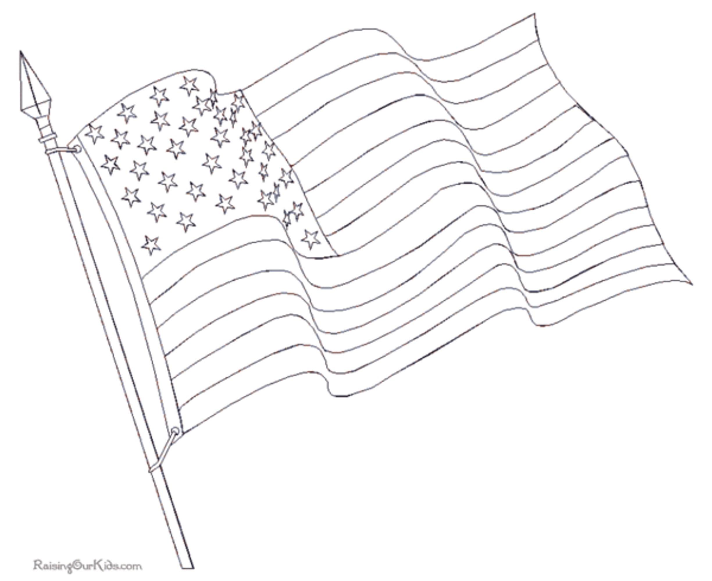 vector black and white Waving american flag printable. Usa drawing coloring page