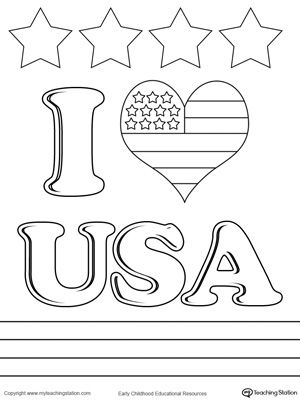 graphic library download Usa drawing coloring page. I love worksheets