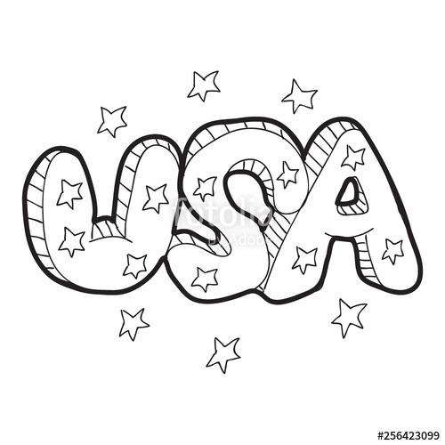 picture library download Usa drawing lettering. Cartoon doodle illustration of
