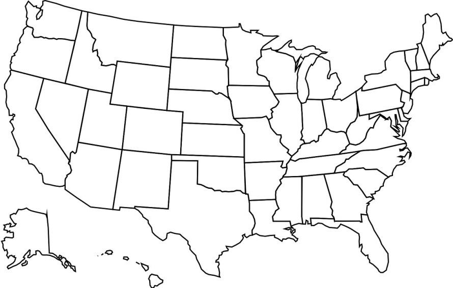 clip Usa drawing line. Map homeschool no stress