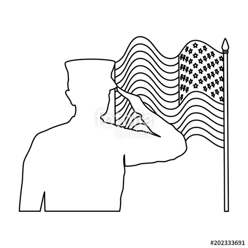 clip art transparent download Silhouette of saluting with. Usa drawing military