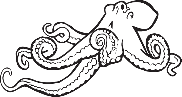 clipart transparent library cute octopus clipart black and white