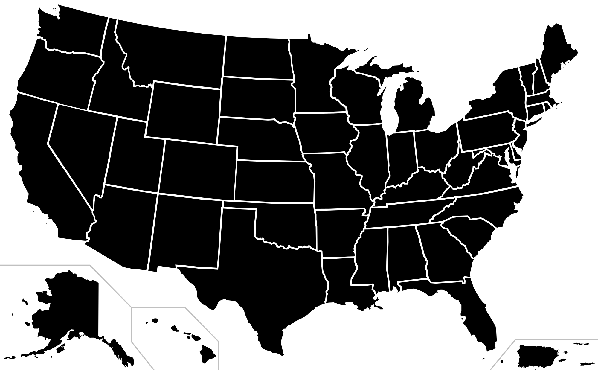 vector black and white Usa svg. File h n map