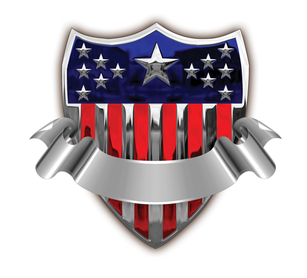 freeuse stock Badge with banner png. Usa transparent shield