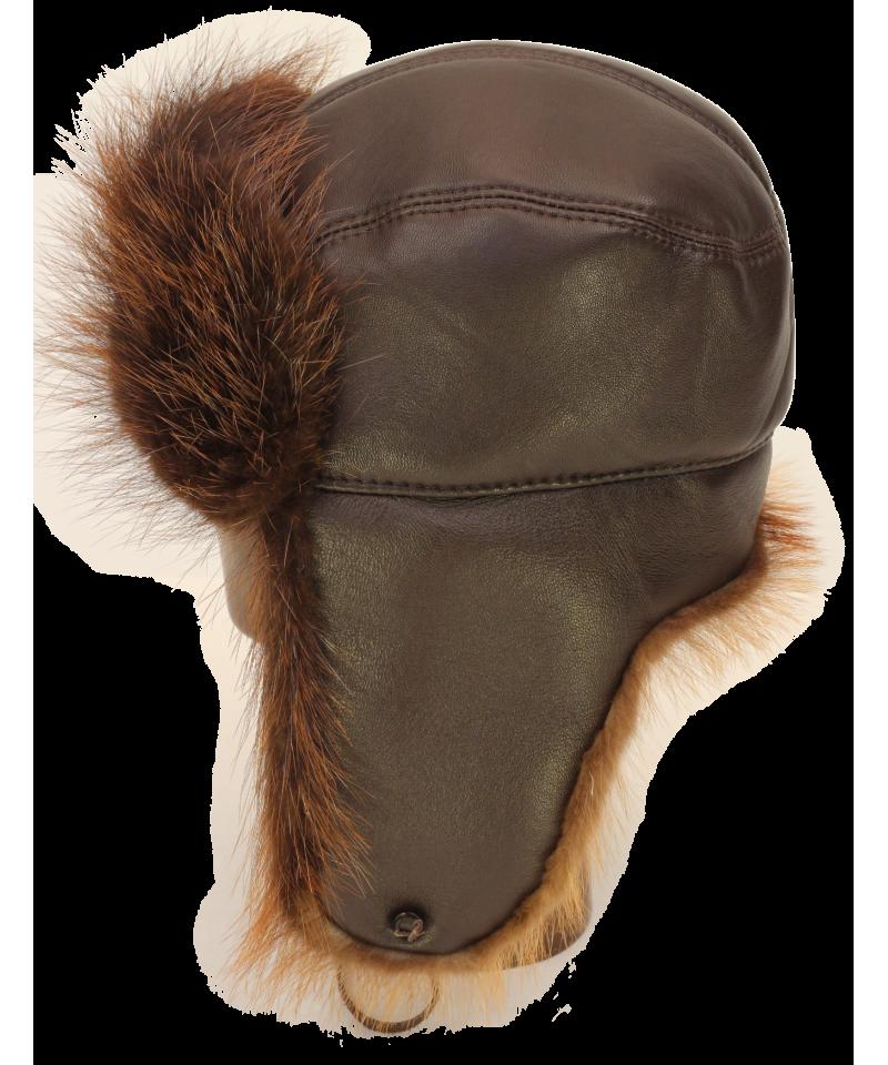 png free download Trapper hat in brown. Ushanka transparent cap