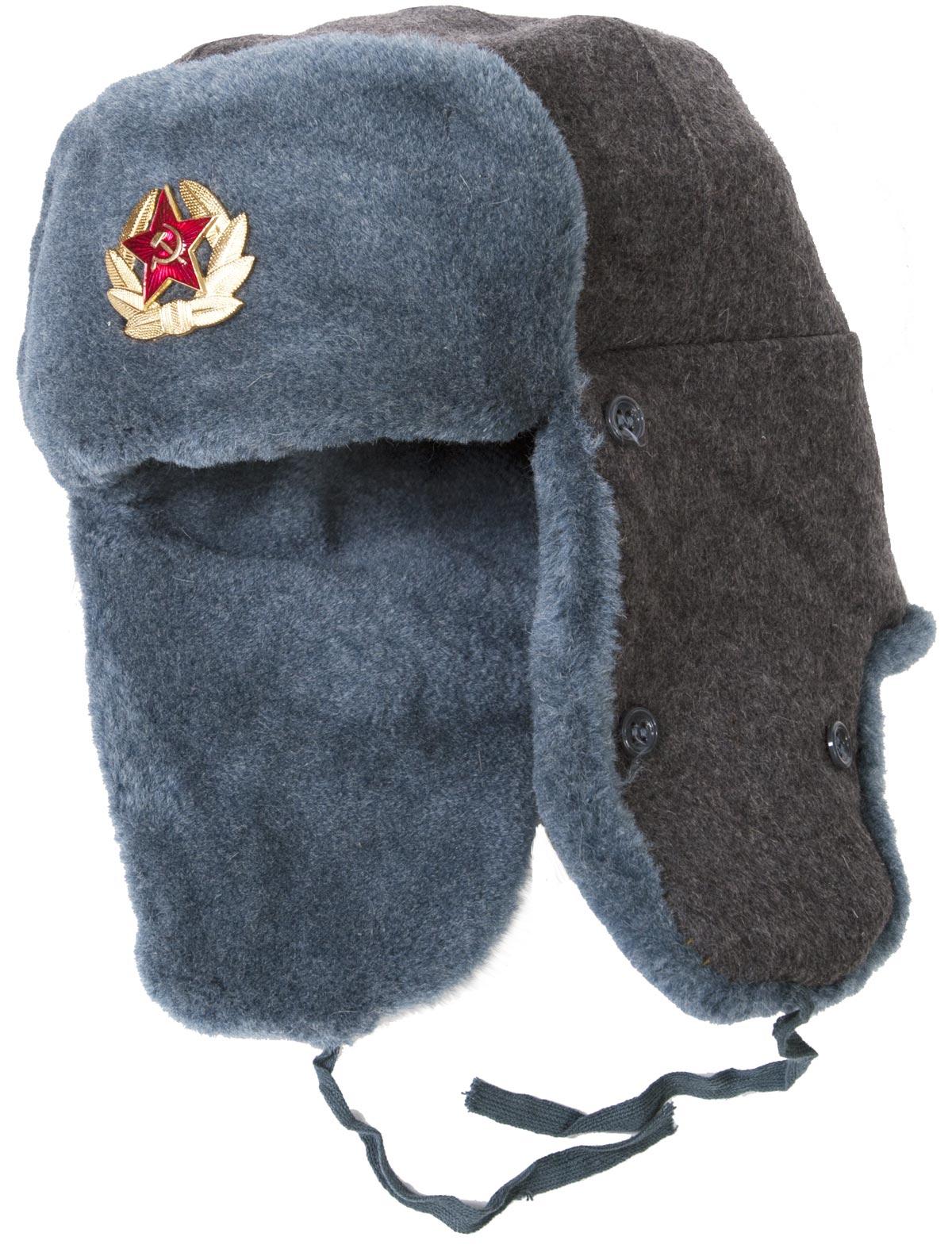 transparent Soviet soldier winter hat. Ushanka transparent military surplus
