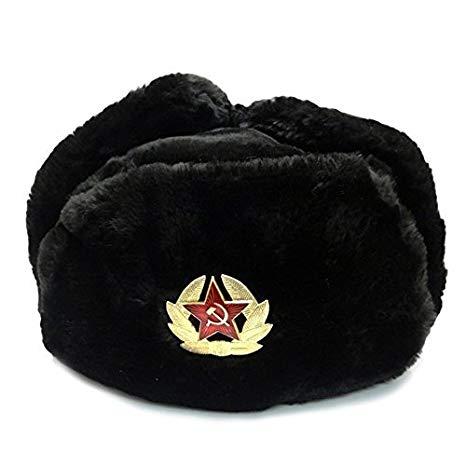 image library library Ushanka transparent uniform. Black fur winter hat