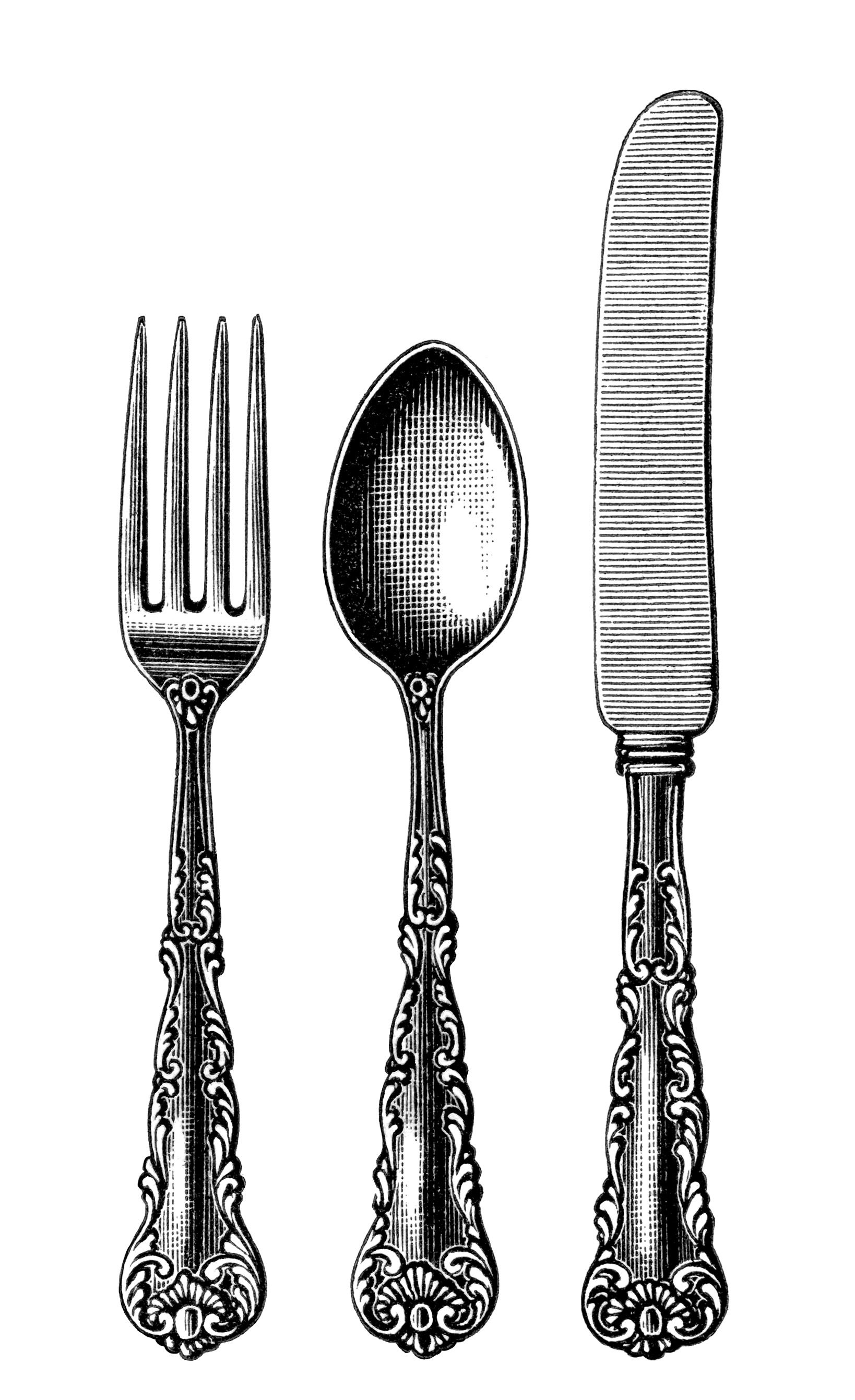 jpg black and white stock Cutlery black and white. Utensils clipart vintage