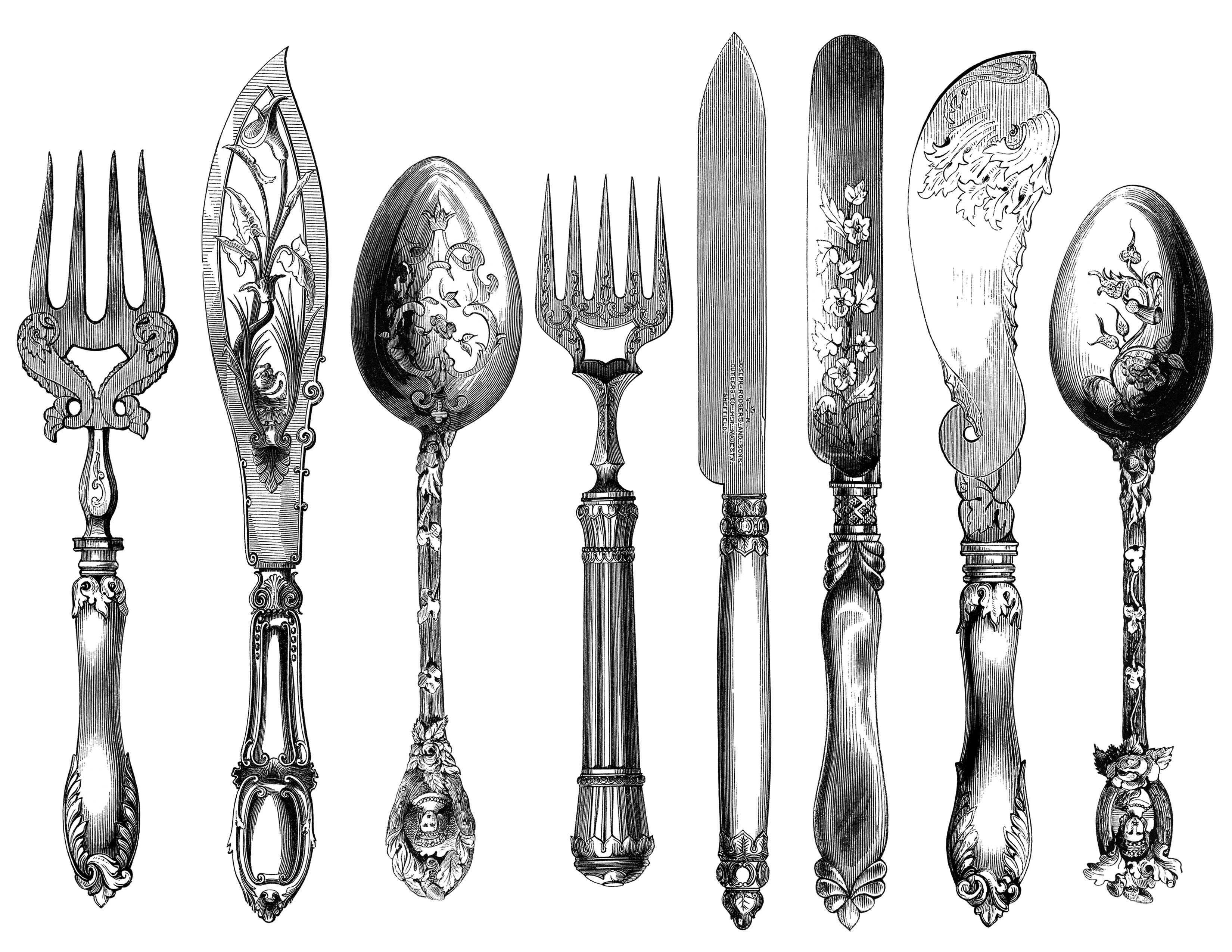 image black and white download Utensils clipart vintage. Cutlery engraving fork knife