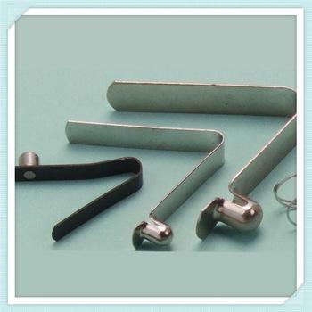 vector transparent V clip metal pipe. Spring steel button for