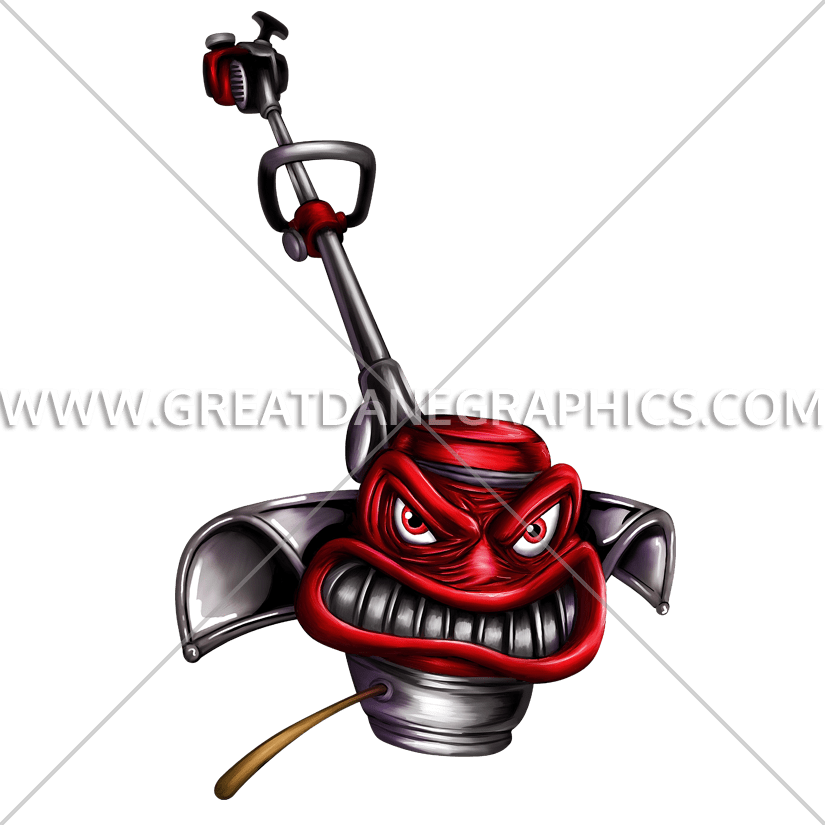 banner black and white library Angry weed eater production. Yard work clipart