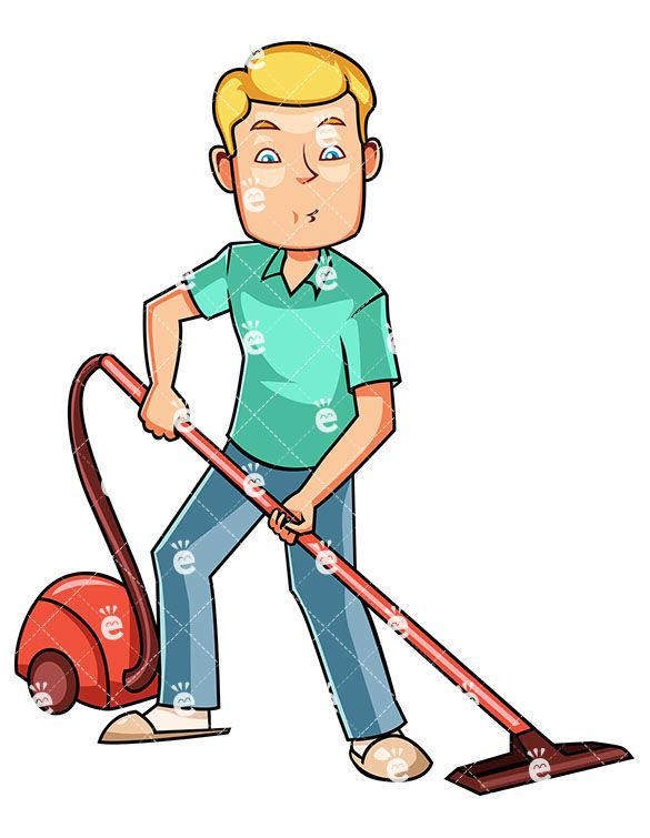 graphic freeuse A man using canister. Vacuuming clipart