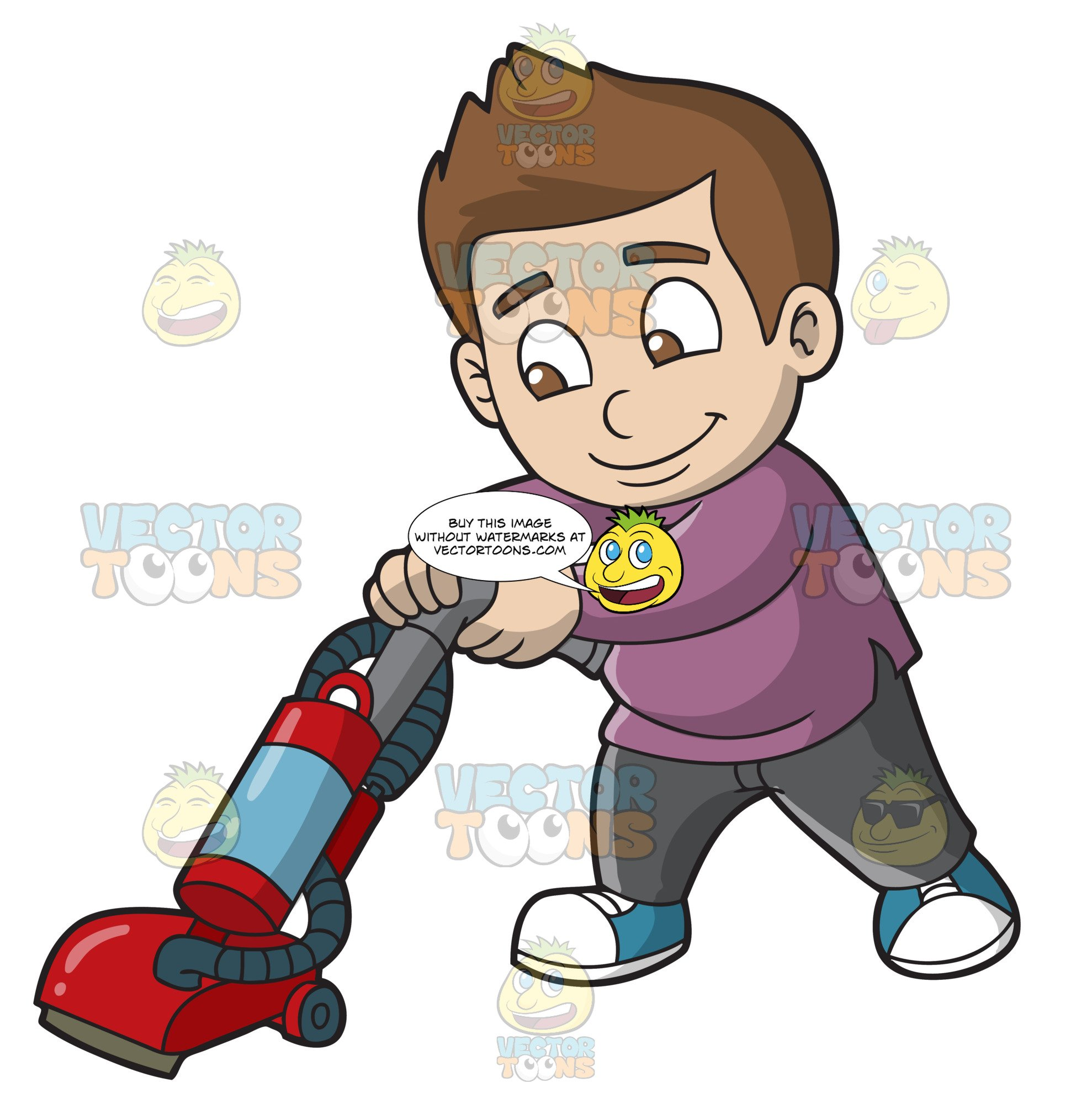 clipart royalty free stock A boy vacuuming the. Kid vacuum clipart