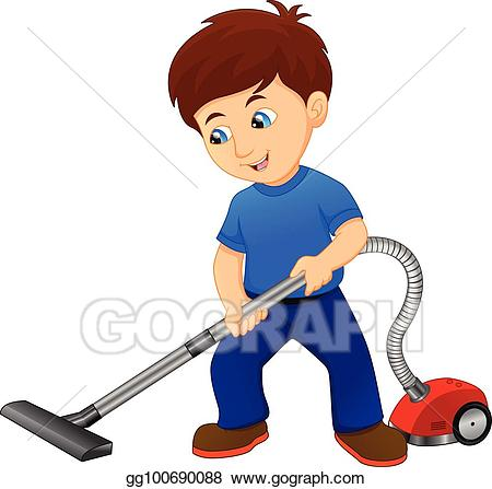 graphic royalty free stock Kid vacuum clipart. Vector stock boy cleaning