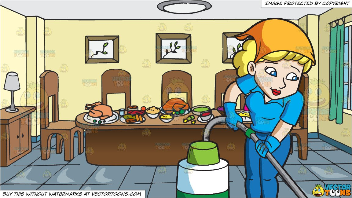 svg library download Vacuuming clipart dining table. A woman cleaning the