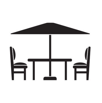 black and white stock Vacuuming clipart dining table. Outdoor patio garden brault