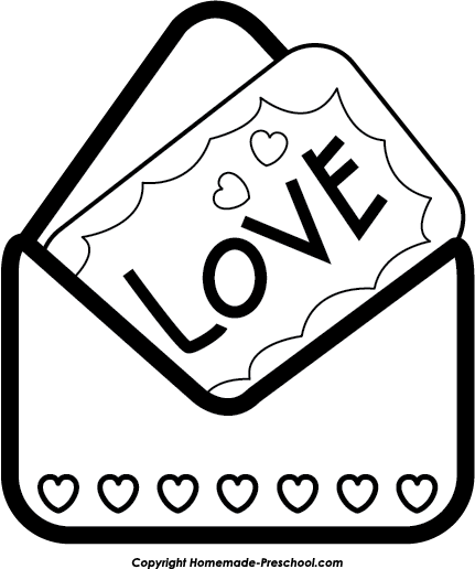 banner Letter . Valentine clipart black and white