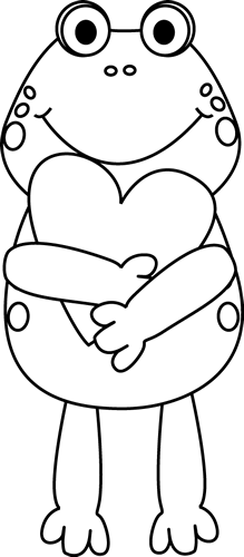picture transparent library Black and White Valentine Frog Clip Art