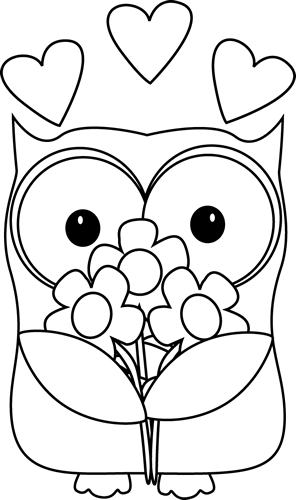 jpg stock Valentine clipart black and white. S day owl baglyok
