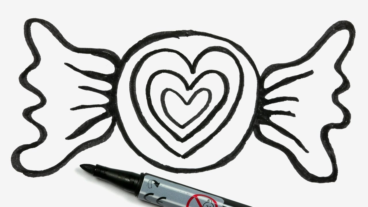 banner black and white download How to draw a. Valentine drawing easy