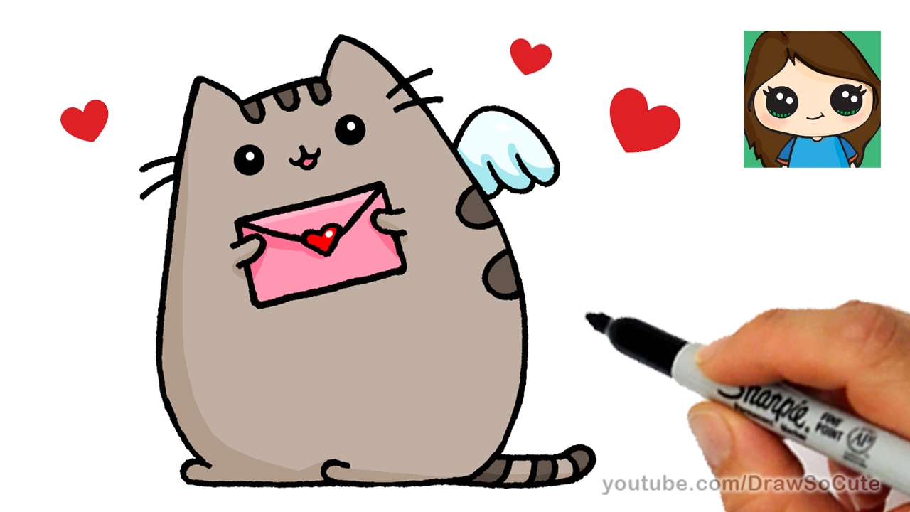 banner royalty free Valentine drawing easy. How to draw pusheen