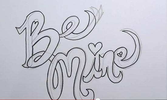 clip library stock Valentine drawing graffiti. S day be mine
