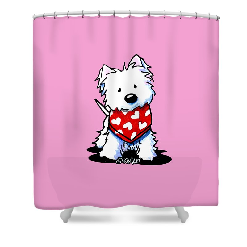 vector royalty free Westie shower curtain . Valentine drawing kim