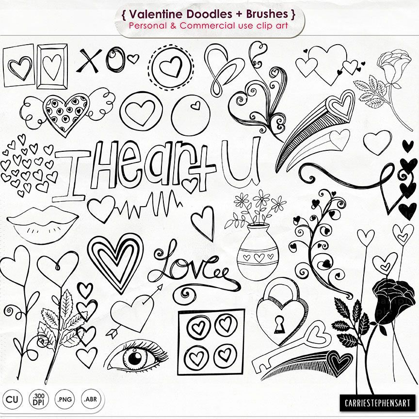 vector royalty free library Doodle clip art heart. Valentine drawing lock and key