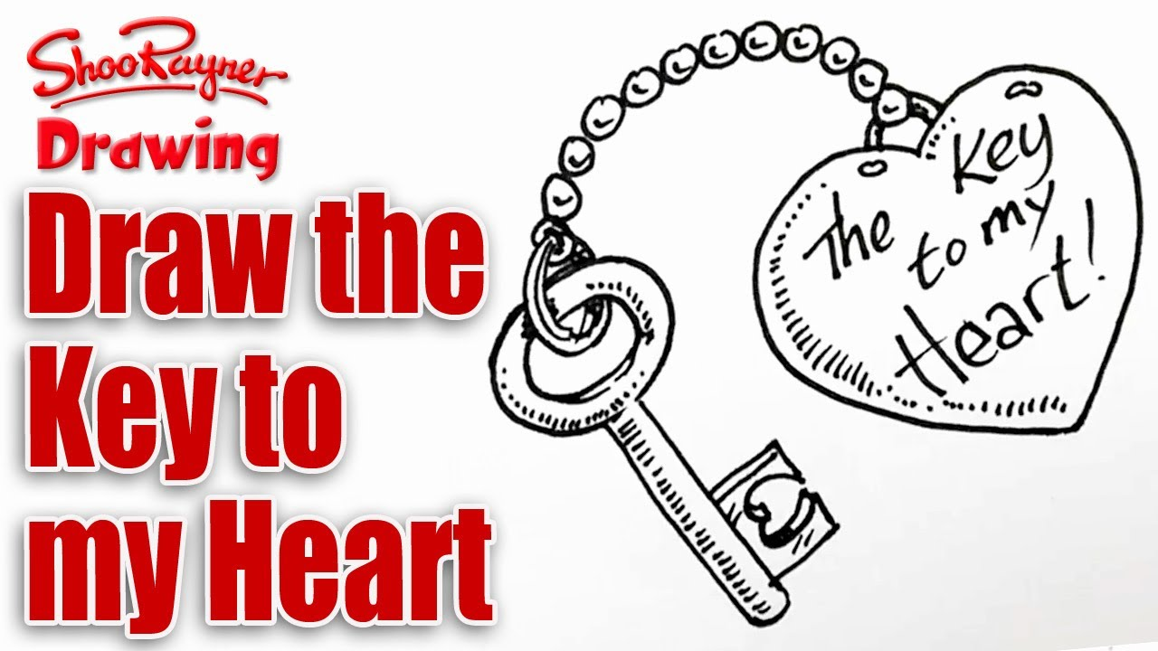 picture library library How to draw the. Valentine drawing lock and key