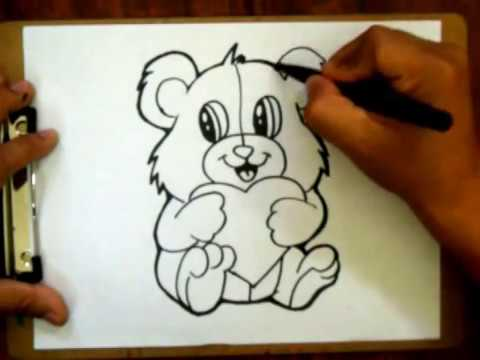 vector black and white stock Valentine drawing teddy bear. How to draw a