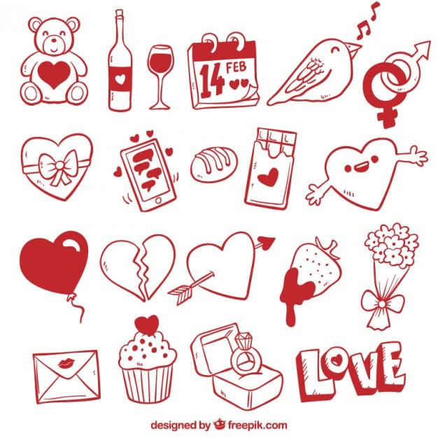 clipart library download Valentine vector doodles. Free valentines day elements