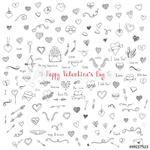 clip black and white Set of hand drawn. Valentine vector ribbon