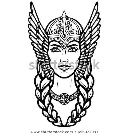clip Portrait of the beautiful. Valkyrie drawing face