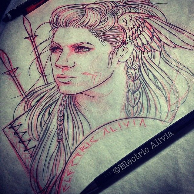 image library library Valkyrie drawing face. Norse tattoo google search
