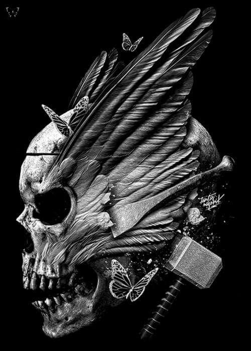 transparent Skully anf thor s. Valkyrie drawing skull