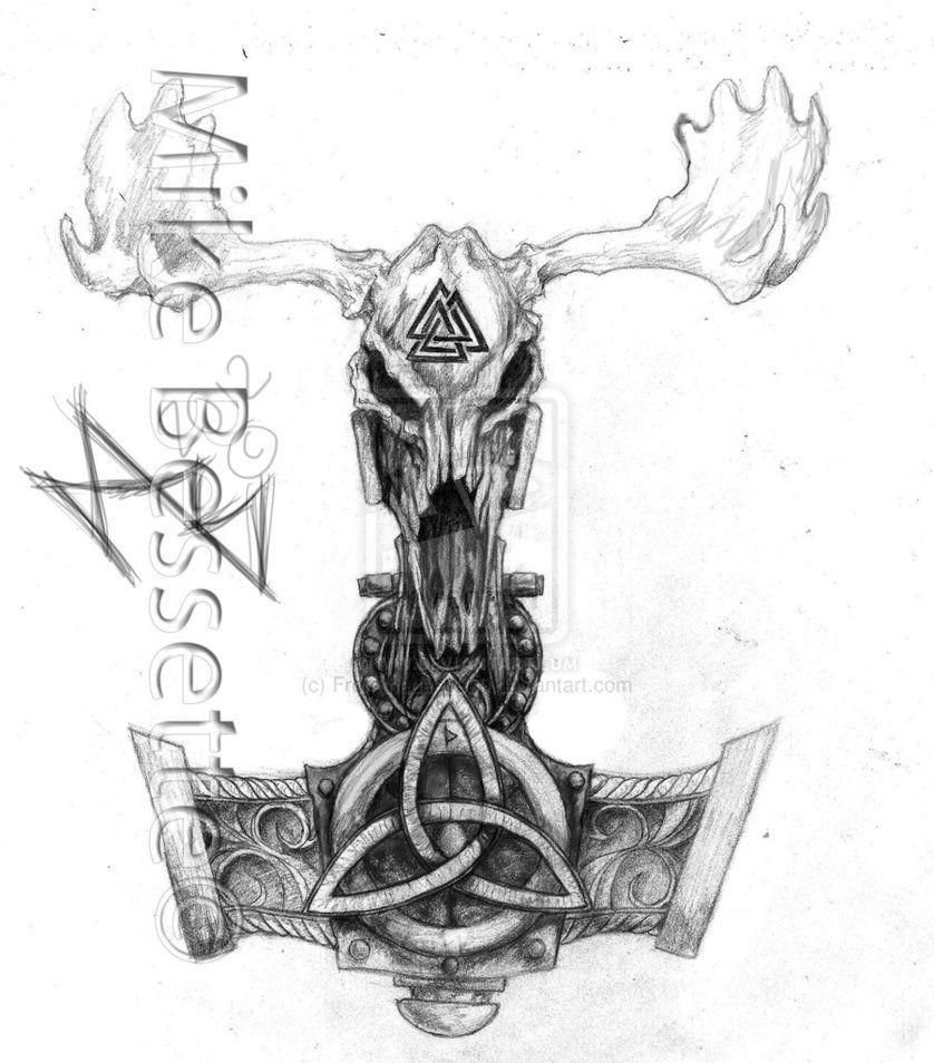 svg freeuse Valkyrie drawing skull. Mjolnir tattoos norse tattoo