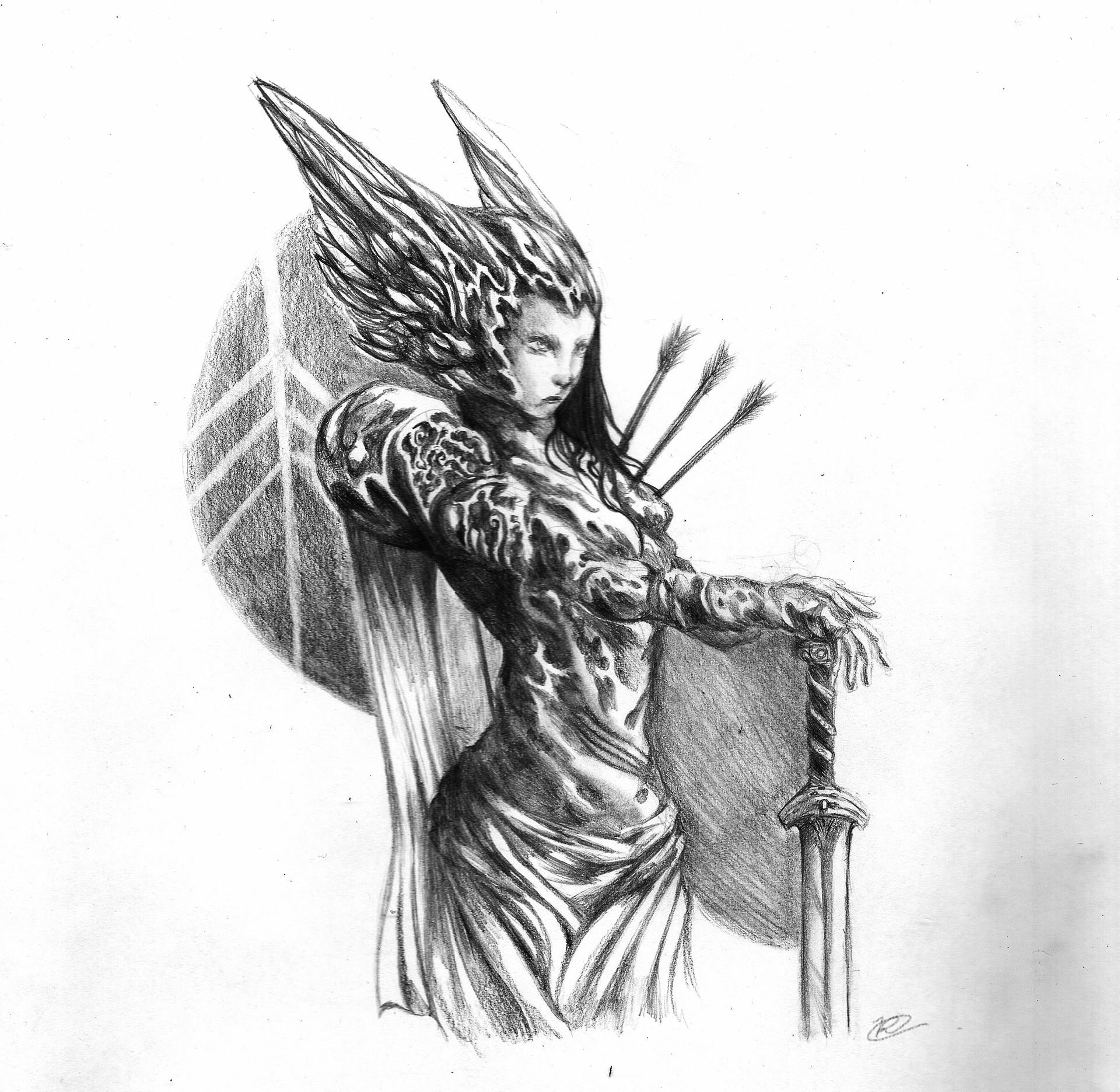 banner free library Valkyrie drawing traditional. Artstation sketches rafael sousa