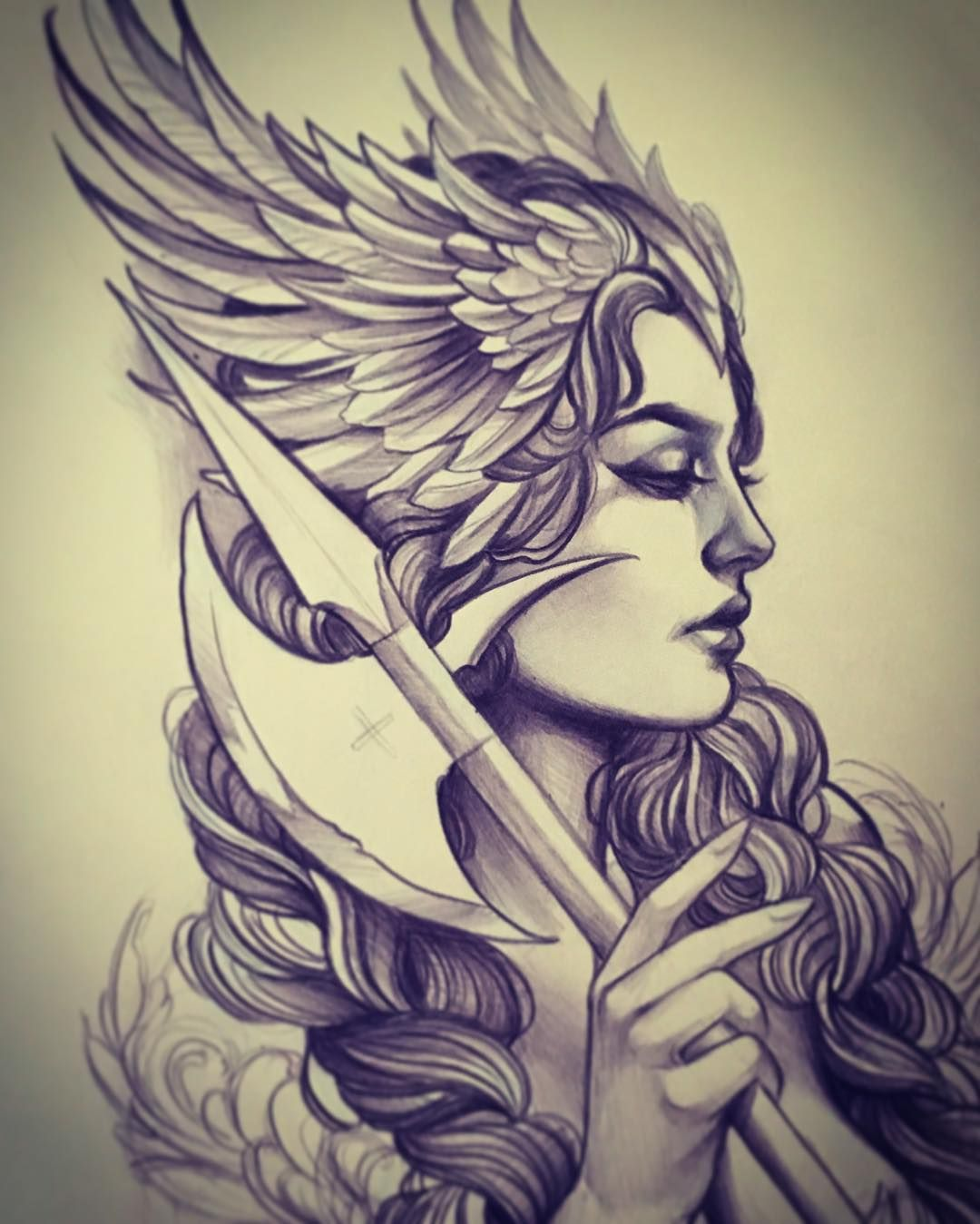 freeuse library Way too excited about. Valkyrie drawing traditional