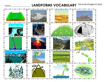 picture black and white Landforms cut paste definitions. Valley clipart definition.