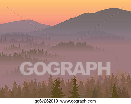 jpg black and white Vector art with coniferous. Valley clipart hill station.