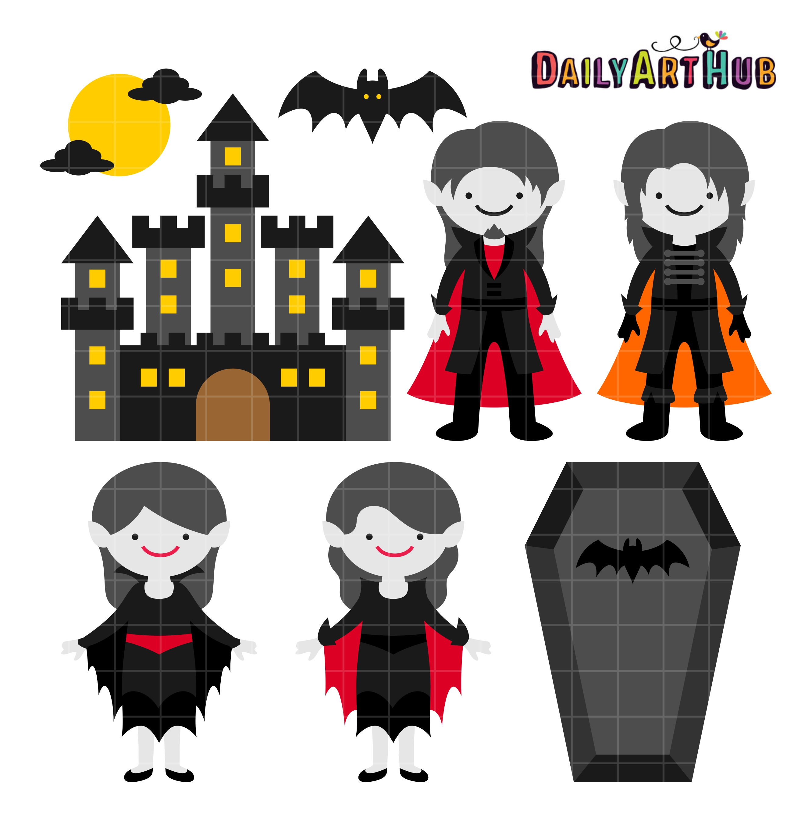 vector royalty free stock Vampir clipart printable. Halloween vampire castle clip