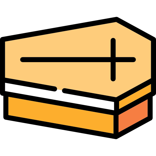 svg stock Cross death halloween icon. Vampire clipart coffin box.