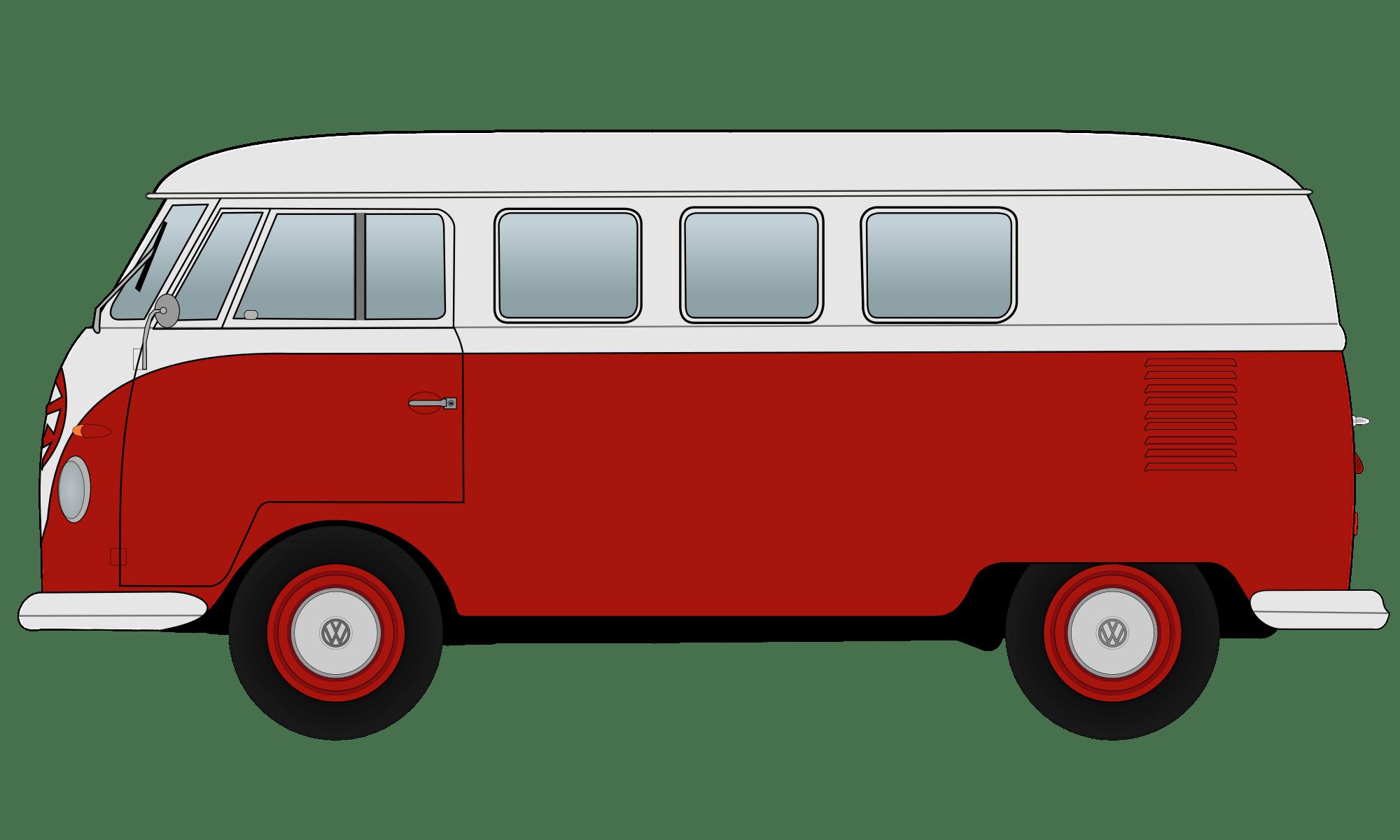 image transparent stock Red volkswagen camper transparent. Van clipart