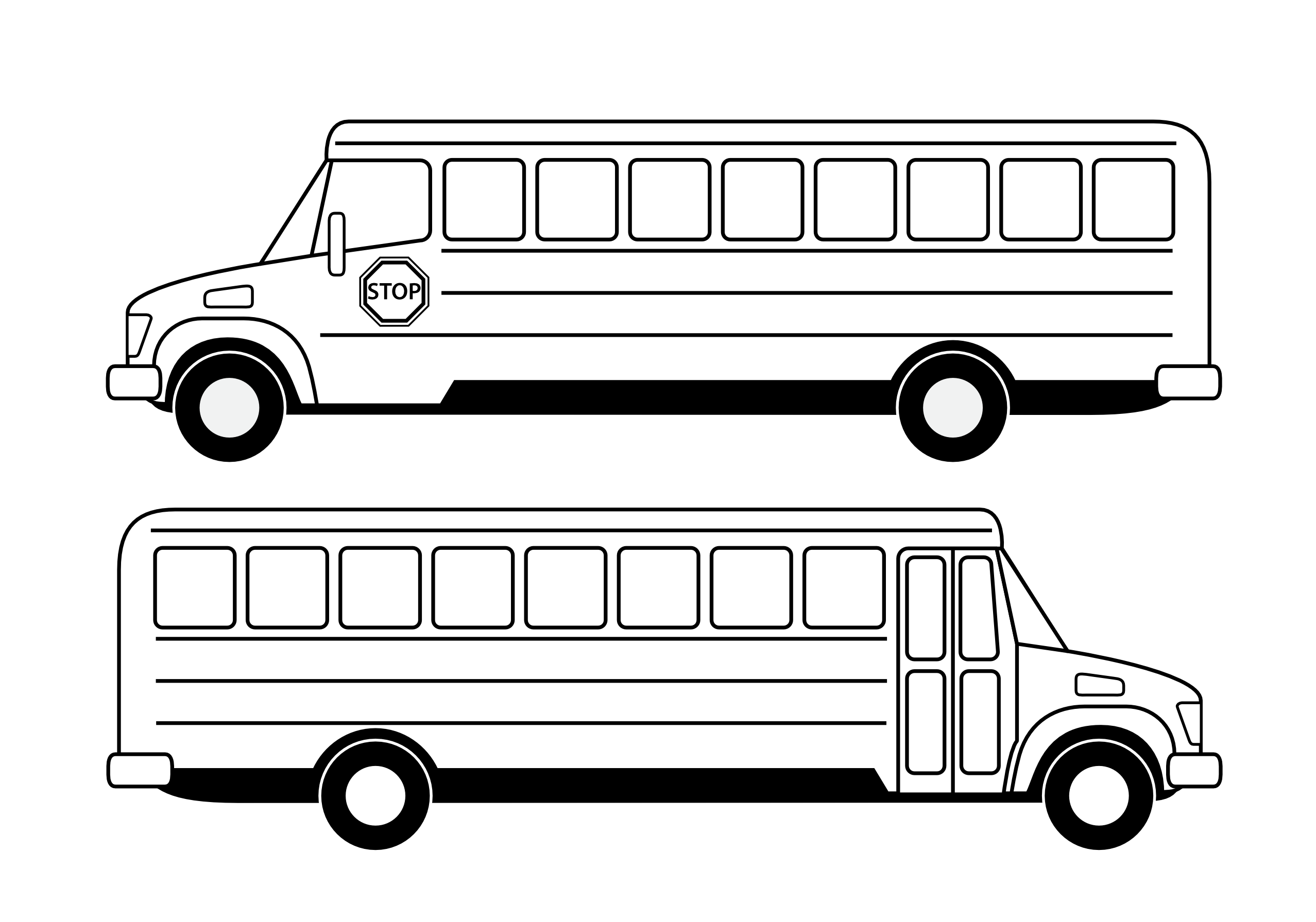 royalty free library Vector bus side view. School clip art black