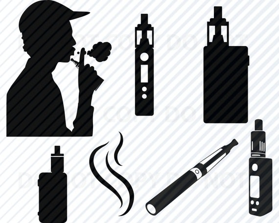 clip transparent stock E cigarette svg silhouette. Vape vector.