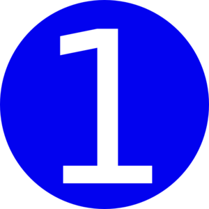 graphic stock Blue rounded with clip. Vector 1 number