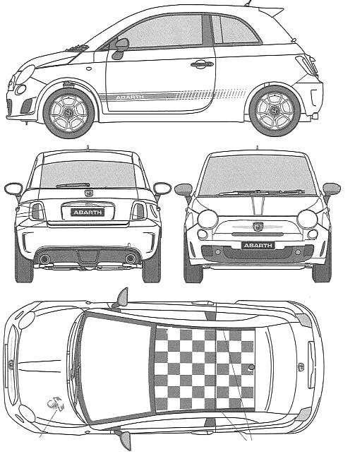 vector free stock Vector 500 abarth.  fiat hatchback blueprints