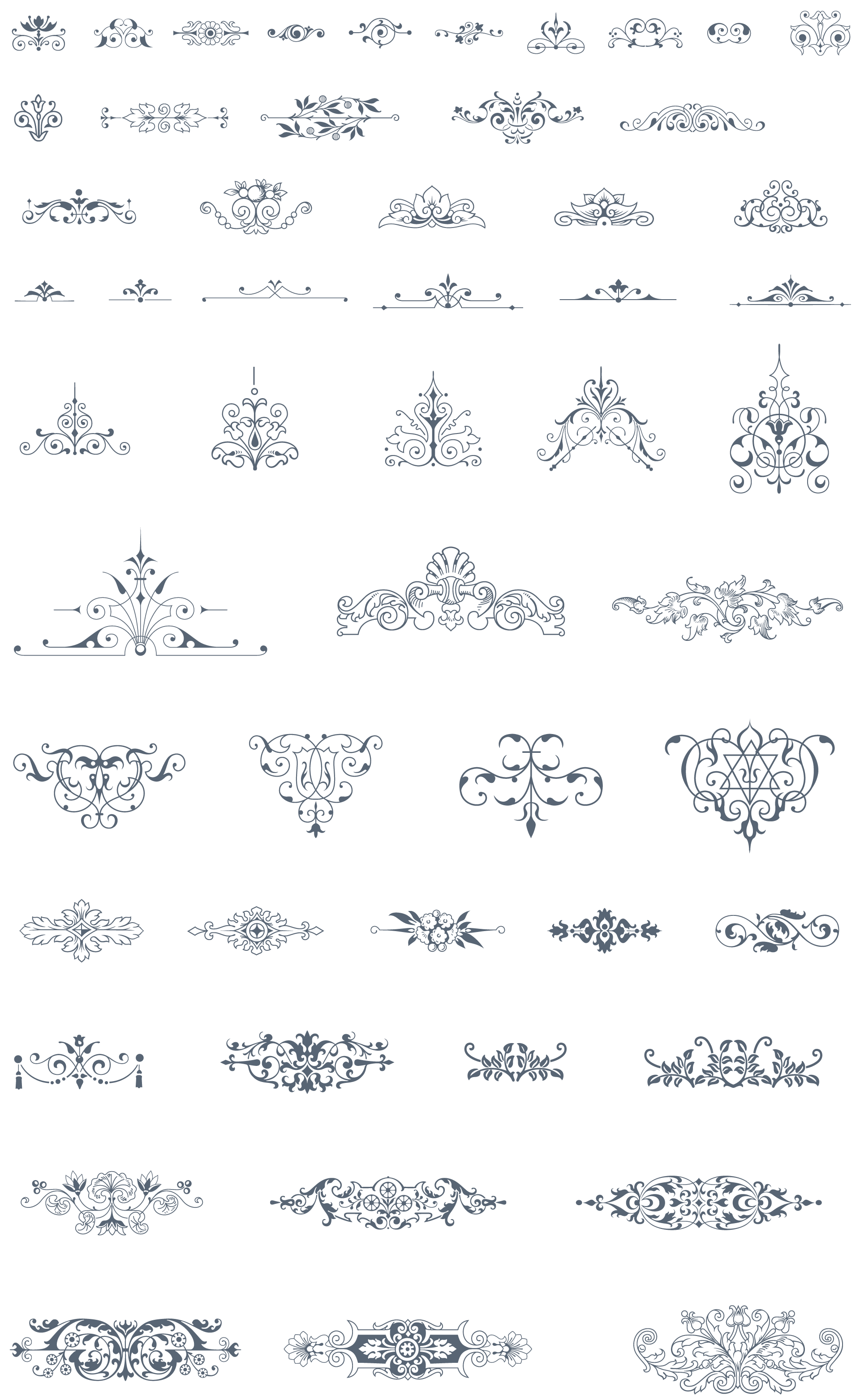vector freeuse Essential vintage pack ornaments. Vector dividers illustrator