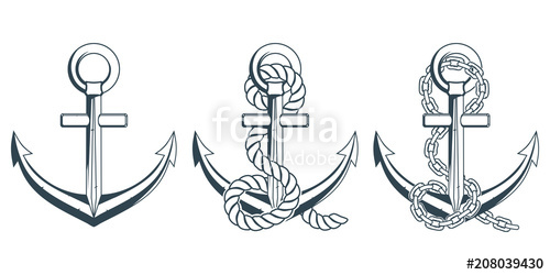 banner Set of different for. Vector anchors anchor rope