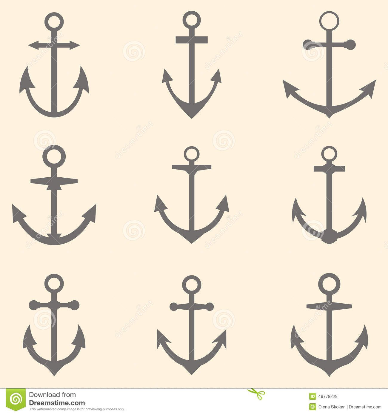 picture black and white download Set of symbols or. Vector anchors anchor tattoo